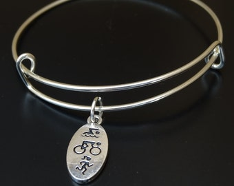 Triathlon Bangle Bracelet, Adjustable Expandable Bangle Bracelet, Triathlon Charm, Triathlon Pendant, Triathlon Jewelry, Triathlon Gifts