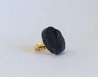 Black ceramic ring - Black raku ring - Raku jewellery - Black ring