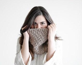 Womens cowl scarf, crochet neck warmer, cowl neckwarmer MP051