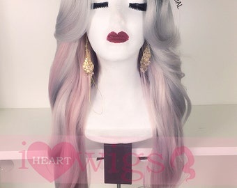 Luxy - Ombre Black Grey/ Gray/ Pink Color Lose Curl Long Weave Wig/ Synthetic Wig with Layer Bangs / Pink Wig/lace front part