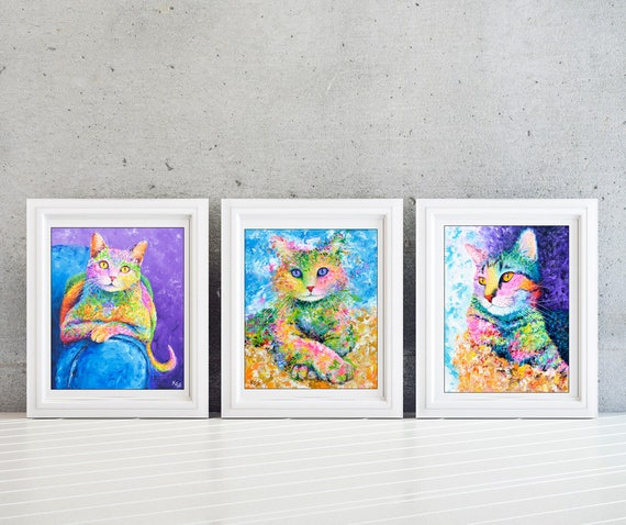 Cat Wall Art Set - Kids Wall Art Set - Girls Room - Kids Room Wall Art Set - Cat Print Set - Cat Lady Gift - Set of 3 Prints