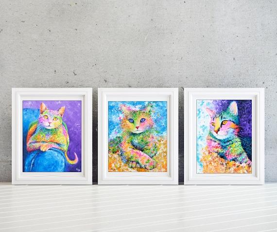 Cat Wall Art Set - Kids Wall Art Set - Girls Room - Kids Room Wall Art Set - Cat Print Set - Cat Lady Gift - Set of 3 Prints