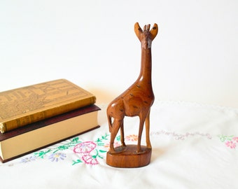 Mid Century Giraffe Figurine / Vintage Wooden Giraffe / Primitive Rustic Animal / Boho Home Decor / 70s Giraffe Figurine