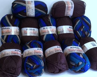 Merino Wool Bundle, Felting Wool, Patons Classic Wool Variegated Yarn Retro & Rich Brown Wool for Knitting, Crocheting and Fiber Art Crafts