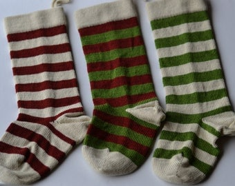 Knit Wool Christmas Stocking with Stripes, Wool Knit Striped Holiday Stocking, Knit Stocking, Knit Holiday Decor