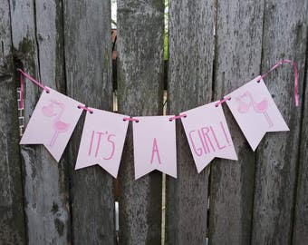 It's a Girl Banner ~ Baby Announcement Bunting ~ Gender Reveal Garland ~ Pink Stork Baby Shower Decoration ~ Baby Girl Pennant ~ Pink Decor