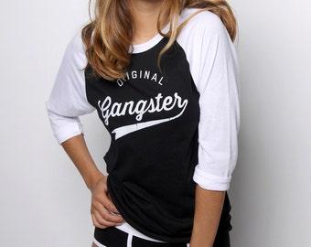 Funny Shirts - Baseball Tshirt - Vintage T shirts - Original Gangster Baseball Shirt