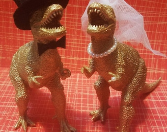 Fancy Dinosaur Wedding Cake Topper Couple - 2 custom gold dinosaurs for weddings and other events