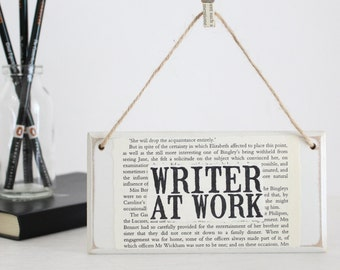 writer gift  gifts for writers writer at work original wooden door sign literary gift ~