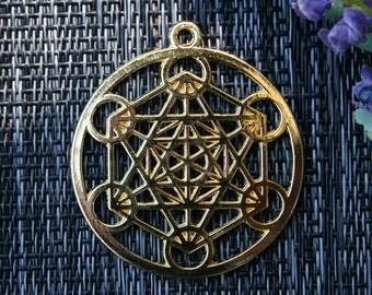 Metatrons Cube Necklace, Metatrons Cube Pendant,Gold Sacred Geometry Pendant, Metatrons Cube Pendant