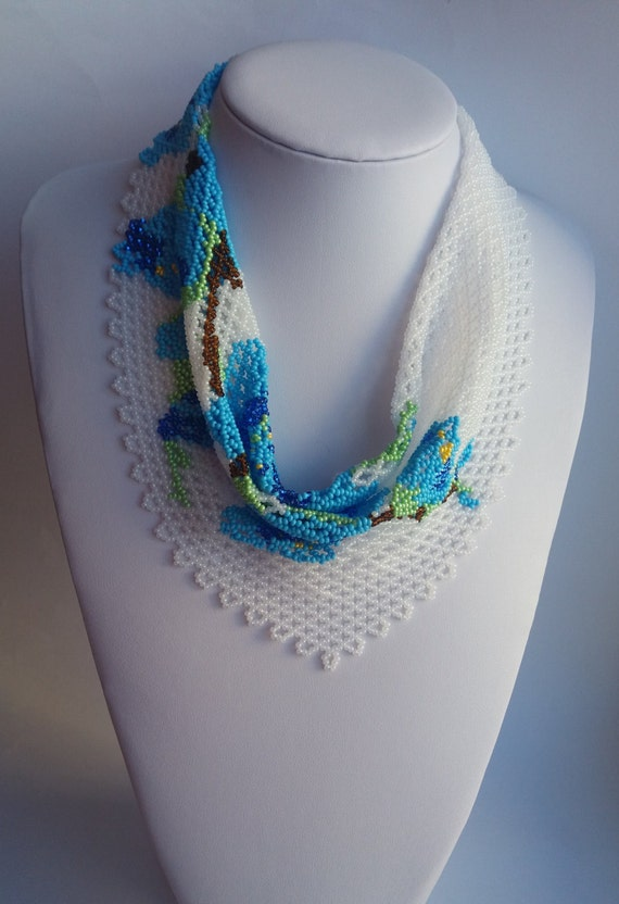 scarf blue flowers beaded necklace scarf flower necklace