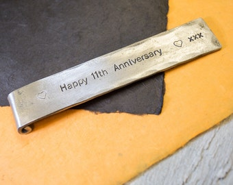 11th ANNIVERSARY Bookmark with custom text//steel bookmark//11th year personalised gift for wife//steel anniversary gift for husband//books