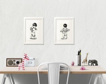 Kids printable - Black and white art print, Set of 2, Children sketch, Wall decor,  Art & collectibles, Kids room decor