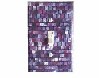 Purple Mosaic Style Pattern Light Switch Cover | Purple Light Switch Plate