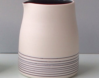 Small Porcelain Jug / Creamer. Black and White. Handmade wheel thrown ceramic porcelain pottery.