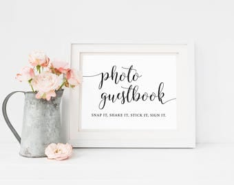 Wedding Photo Guestbook Sign, Instant Photo Guest Book Sign, Photo Booth Sign Printable, Reception Signages, Snap it Shake it Stick it Sign
