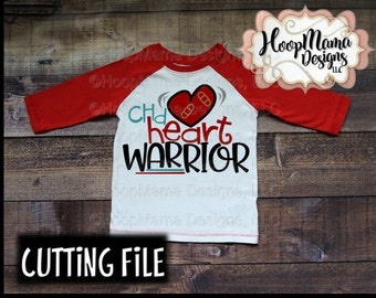 CHD Heart Warrior Congenital Heart Defect SVG DXF png and eps Cutting Files for Silhouette Cameo and Cricut Explore Zipper Club