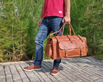 Full Grain Leather Weekender, Leather Duffel Bag, 35 liter Travel Bag - Available in 4 Colors! Handmade in Greece.