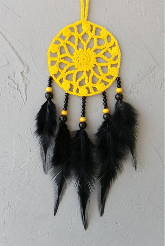 Yellow black dream catcher car dreamcatcher crochet doily dream catchers black feathers boho dreamcatcher  wrap packing decor