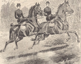 Equestrian Ladies Fox Hunting Foxhunt Riding Horses Sidesaddle Side Saddle Horseback Horsewomen Equine Antique Art Print 1892 by Gray Parker