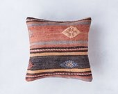 Vintage Turkish Kilim Pillow Cover, Pastel Kilim Pillow, Bohemian Decorative Pillow, Boho Pillow, Turkish Kilim, Faded Pillow, Pink Pillow