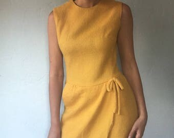 Vintage Mod 60s Wrap Front Mustard Yellow Pocket Dress