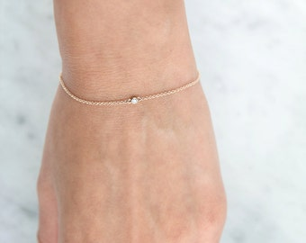 14K Diamond Bracelet, 14K Solitaire Bracelet, Single diamond bracelet, solid gold bracelet, chain bracelet