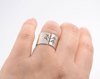 Wide Band Silver Ring - Tree Ring - Adjustable - Sterling Silver - Silver Thumb Ring - Adjustable Tree Ring - Tree Of Life Ring -Branch Ring