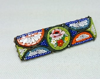 Micro Mosaic Rectangle Brooch Pin, Italian Grand Tour Souvenir Jewelry