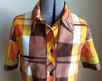 Orange Brown White Green Plaid Checkered Lightweight Shirt Top