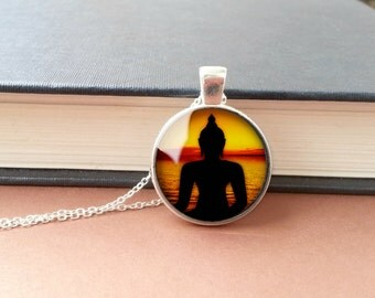 Buddha Pendant Buddha Necklace Black/Silver Glass Pendant Sunset Photo Pendant Necklace Magical Red Orange Yoga Jewellery Buddha Necklace