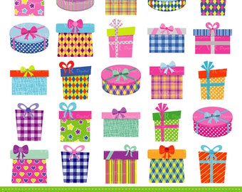 Gift Boxes Clipart,  Gifts Clipart, Presents Clip Art, Birthday Party Presents Clip Art, Digital Download Vector Clip Art