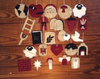 Jesse Tree Advent Ornament Set