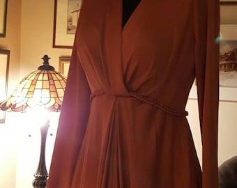 Long sleeves maxi dress ,Woodland fairy,elf costume,cosplay ,forest elf,long brown vintage dress,60s dress, boho,retro maxi dress