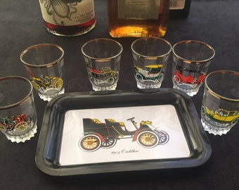 Set of 6 vintage shot glasses with tray 1960s