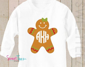 Christmas Shirt Gingerbread LONG SLEEVE Shirt Personalized Monogram Boy Girl Baby Toddler Shirt