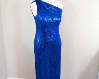 80s Blue Sequin Dress - M/L - Vintage Sequin Dress - Formal Dress - Vintage Prom Dress - 80s Prom Dress - Party Dress - Sequin Maxi Dress