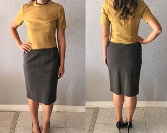 1960's Jackie Kennedy Chartreuse and Grey Mid Century Secretary Vintage Madmen Two Piece Dress
