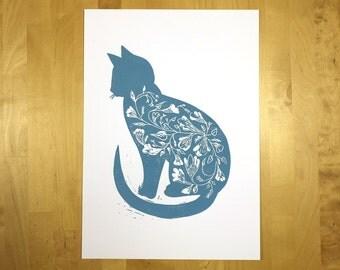 Blue cat - art print, linocut, original
