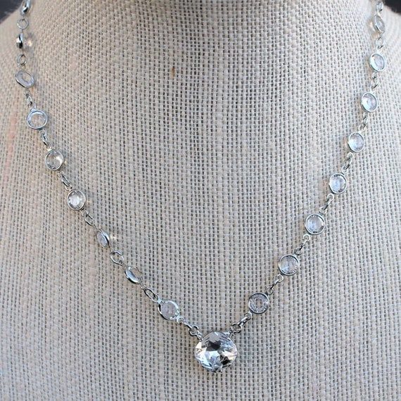 12mm Swarovski  Crystal Cushion Cut Pendant Necklace With Chanel Chain