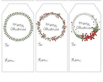 Instant Printable Christmas Gift Tags, Holiday Tags  - Merry Christmas - Instant Download
