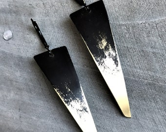 Brass Dagger Earrings - long spike minimal geometric distressed india ink black patina jewelry