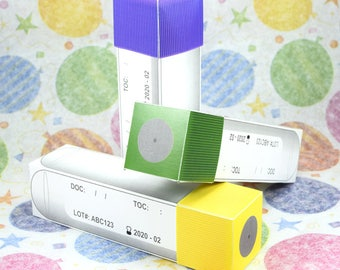 Test tube favor boxes; Lavender top, Green top and Yellow top test tubes; Blood, Hematology, Laboratory tools, Labware, Phlebotomy