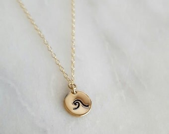 Gold Filled Mini Wave Necklace | Nature Jewelry | Hand Stamped Jewelry | Beach Charm | Ocean Necklace | Boho Jewelry | Beach Wedding Jewelry