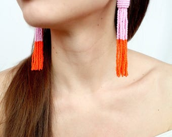 Pink tassel earrings bohemian earrings boho earrings Oscar de La Renta earrings bead tassel earrings statement earrings orange tassel