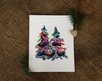 Two Trees, 8x10 Watercolor Print, Sisters, Pacific Northwest, Home Decor, Wall Art