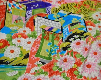 85: Japanese vintage kimono jyuban cotton pink red  white chrysanthemum flower carriage colorful
