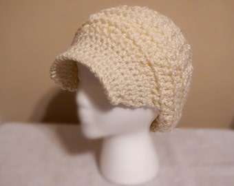 Off-White Slouchy Hat with Brim | Detailed Crochet Hat | Cream Colored Beanie | Winter Hat | Woman's Accessories | Soft Chunky Beanie