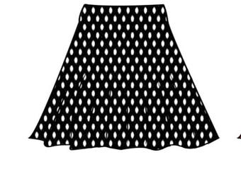 PDF skirt sewing pattern for woman.stretchy skirt 32-42 and step-by-step comprehensive online sewing tutorial(video).half circle skirt.