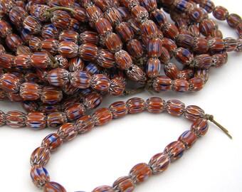 20 Glass Chevron Beads - 8x6mm Oval - 1mm hole